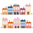 Houses and bird, cute vector illustration — ストックベクタ
