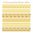 Set of luxury vintage gold washi tapes, ribbons, vector elements, cute design patterns — Stock Vector