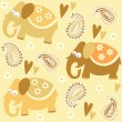 Seamless elephant kids pattern wallpaper background with flowers and heart, vector illustration — Imagen vectorial