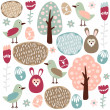 Cute colorful seamless easter spring vector pattern with hare, bird and flowers — Stock Vector