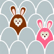 Cute seamless easter background pattern with eggs and hare, vector illustration — Stock Vector