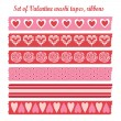 Set of romantic Valentine vintage washi tapes, ribbons, vector elements, cute design patterns — Stock Vector #38007095