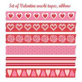Set of romantic Valentine vintage washi tapes, ribbons, vector elements, cute design patterns — Stock Vector