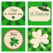 Set of four St. Patrick's day backgrounds, invitation menu greeting cards, vector illustration — Stock Vector