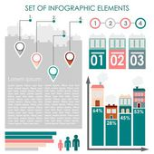 Set of infographics, urban demographics data icons and elements, vector illustration — Stock Vector