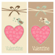 Cute romantic set of valentine birthday wedding cards, invitations, with bird and floral heart, vector illustration — Vecteur