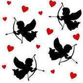 Cute valentine seamless pattern with silhouettes of angels cupids with arrows and hearts, black icons, vector illustration background — ストックベクタ