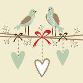 Valentine, wedding, birthday card or invitation with birds, hearts, and blossom twigs, vector decorative illustrated background — Cтоковый вектор