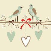 Valentijn, bruiloft, verjaardag card of uitnodiging met vogels, harten en bloesem twijgen, vector decoratieve geïllustreerd achtergrond — Stockvector