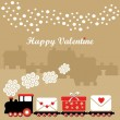 Cute valentine card with train, letters with hearts, gift, winter houses, falling snowflakes, vector illustration background — Stock Vector