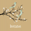 Beautiful spring vector background with birds on cherry blossom branch, birthday, wedding card, invitation — Stock Vector