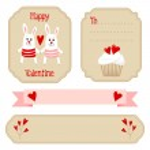 Cute valentines wedding set, labels, ribbons, emblems, other elements, vector illustration — Stock Vector #38765165