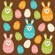 Cute easter seamless pattern with eggs and bunnies, vector illustration — Stock Vector