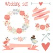 Cute wedding elements set with flowers, wreath, hearts, ribbons, birds, vector illustration — Stok Vektör