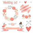 Cute wedding elements set with flowers, wreath, hearts, ribbons, birds, vector illustration — Stock vektor