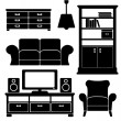Living room furniture icons set, black isolated silhouettes, vector illustrations — Stock Vector