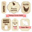 Cute retro easter set of labels with eggs, chicken, bunny, ribbons and other elements, vector illustration — Stock Vector #39616447