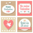 Cute set of valentines cards, vector illustation backgrounds — Stock vektor