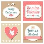 Cute set of valentines cards, vector illustation backgrounds — Stok Vektör
