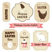 Cute retro easter set of labels with eggs, chicken, bunny, ribbons and other elements, vector illustration — Stock Vector