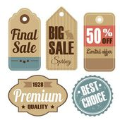 Retro set of vintage sale and quality labels, cardboard tags, vector illustration — Stock Vector