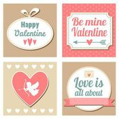 Cute set of valentines cards, vector illustation backgrounds — Vector de stock
