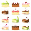 Cute retro set of various cakes with cream and fruit, vector illustration food collection — Stock Vector