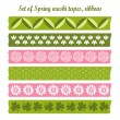 Set of spring easter vintage washi tapes, ribbons, vector elements, cute design patterns — Stock Vector