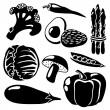 Black isolated vegetables silhouettes icons on white background, vector vegetarian set — Stock Vector