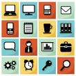 Modern set of flat icons, office, business, vector illustration, web design objects — Stock Vector