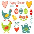 Cute easter elements set with eggs, hens, hearts and flowers, vector illustration — Stok Vektör