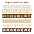 Set of natural washi tapes, ribbons, vector elements, cute design patterns — Stock Vector