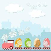 Carino carta di primavera di pasqua con uova, case, treni, sfondo illustrazione vettoriale — Vettoriale Stock