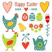 Cute easter elements set with eggs, hens, hearts and flowers, vector illustration — Stock Vector