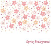 Cute spring card with cherry tree blossoms, vector illustration, floral pattern background — Stock Vector