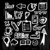 Set of chalk doodles, office icons on the blackboard, vector illustration, — ストックベクタ