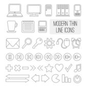 Set of modern thin line icons for web and mobile, vector illustration — Stock Vector
