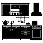 Set of black kitchen icons, furniture and utensils, vector illustration — Stock Vector