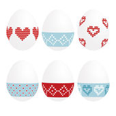 Cute set of painted easter eggs, knitted design, vector illustration background — Stock Vector