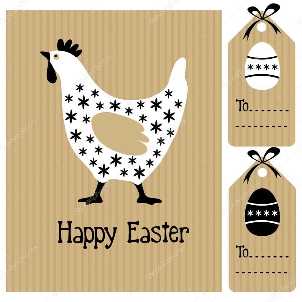 Happy easter card with hen and eggs invitation black white – Easter Card Designs