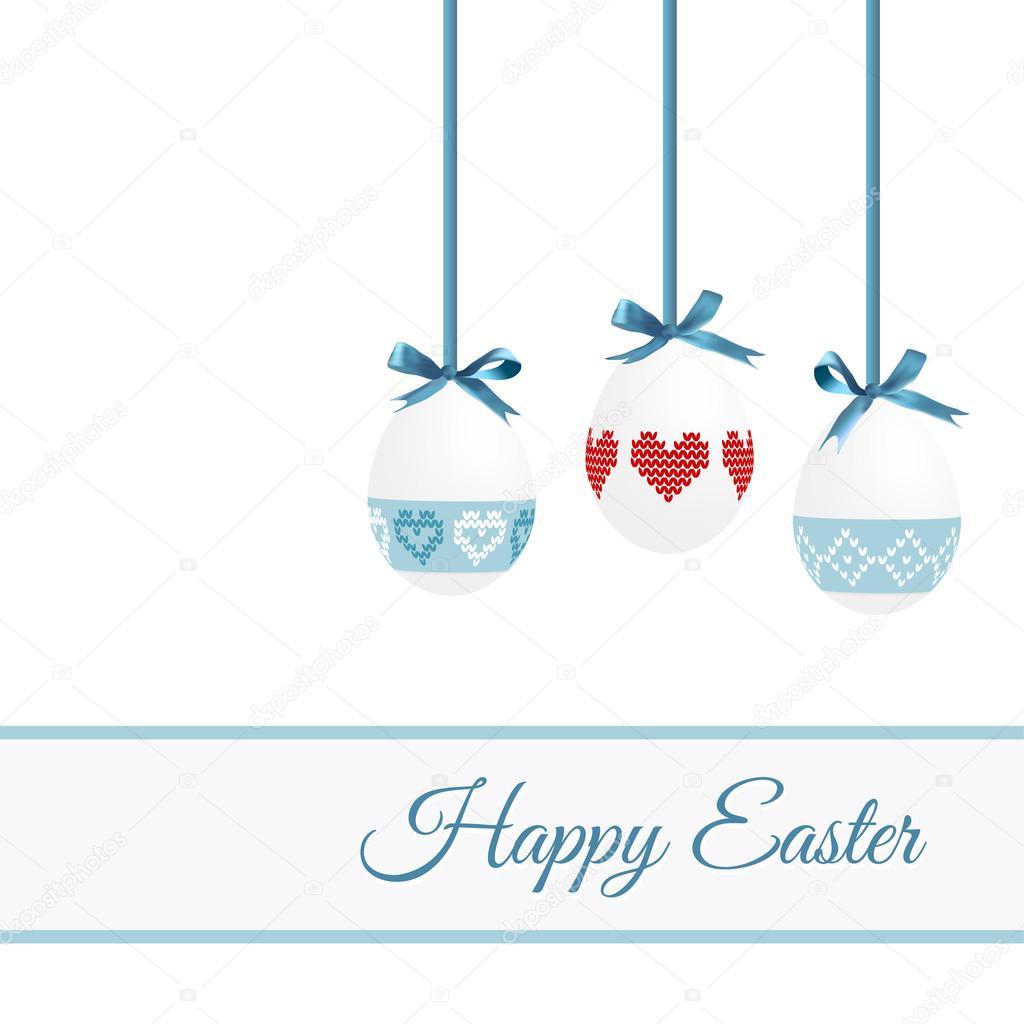 可爱复活节贺卡与画蛋,针织设计, 矢量图背景,邀请