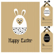 Cute easter spring card with hare and flowers, vector cardboard background — Stock Vector