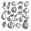 Black isolated vegetables and fruits doodle icons on white background, vector vegetarian sketch set — Stock Vector