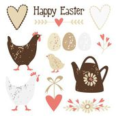 Cute vintage easter elements set with eggs, hens and flowers, vector illustration — Stok Vektör