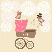 Invitation de douche de bébé mignon, carte d'anniversaire avec la voiture d'enfant, les oiseaux et les fleurs, fond illustration vectorielle — Vecteur