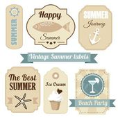 Cute retro set of summer vacation labels with anchor, drink, ice cream, ribbons and other elements, vector illustration — Stock Vector