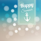 Summer card with blurred beach background and bokeh lights, vector illustration — Stock Vector