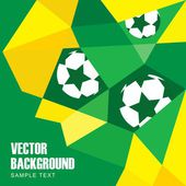 Abstract modern polygon background in Brazilian flag and football design, vector illustration — Stock Vector