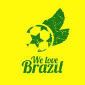 Brasilianischer fußball poster der retro grunge-stil, vektor-illustration — Stockvektor