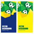 Set of abstract modern polygon banners in Brazilian flag and football design, vector illustration  background — Stock Vector #46974039